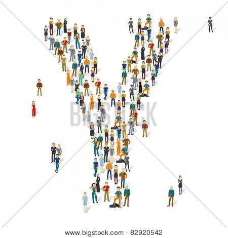 People crowd. Vector ABC, letter Y