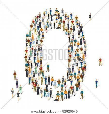 People crowd. Vector ABC, letter O