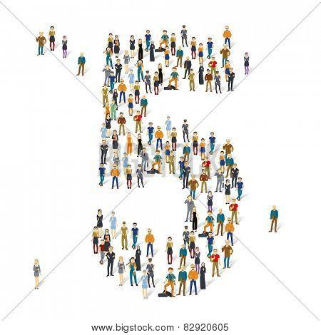 People crowd. Vector figures, 5