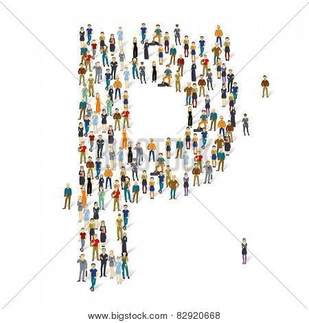 People crowd. Vector ABC, letter P