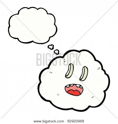 cartoon spooky cloud with thought bubble