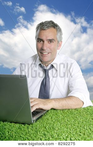 Senior Businessman Work Green Grass Blue Sky