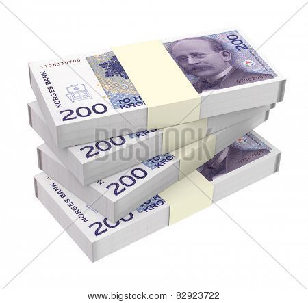 Norwegian krone isolated on white background. Computer generated 3D photo rendering.