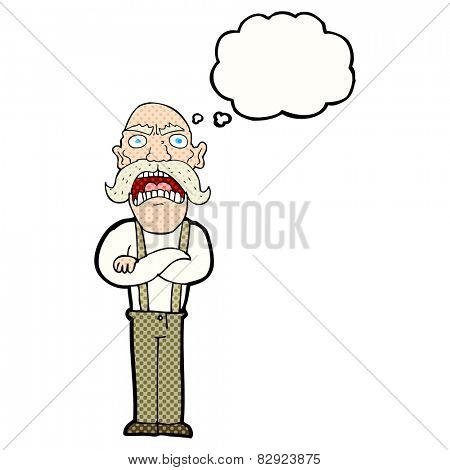 cartoon shocked old man with thought bubble
