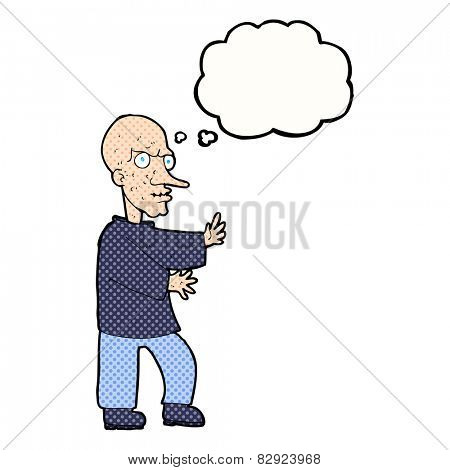 cartoon mean looking man with thought bubble