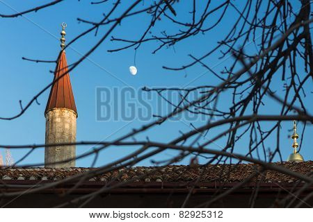 Minarets Of Bakhchisarai Palace In The Crimea Under The Moon