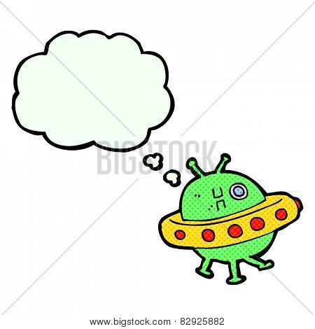 cartoon UFO with thought bubble