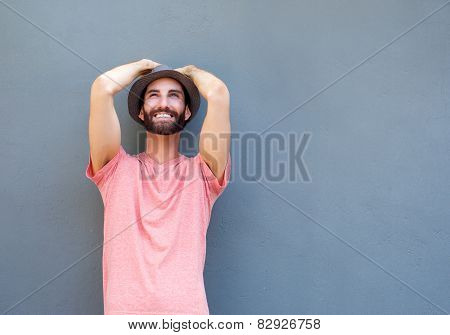 Happy Young Man With Beard Smiling