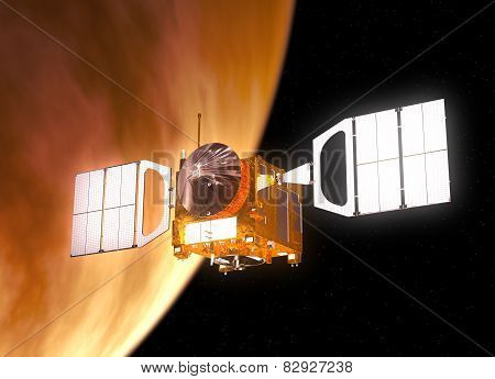 Interplanetary Space Station Orbiting Planet Venus