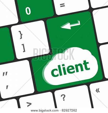 Customers Service Concept. Button On Modern Computer Keyboard With Word Clients On It