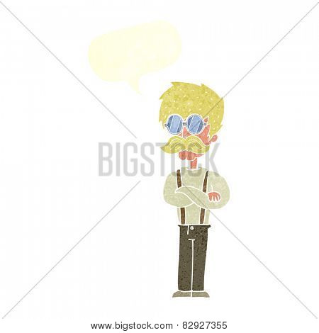 cartoon hipster man with mustache and spectacles with speech bubble