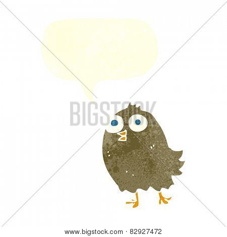 cartoon happy bird with speech bubble