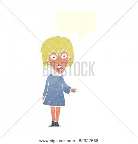 cartoon shocked woman with speech bubble