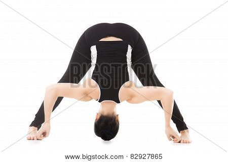 Yogi Female Exercises, Yoga Asana Wide-legged Forward Bend