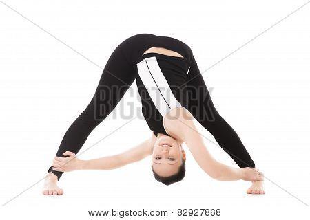 Yogi Female Exercises, Yoga Asana Parivritta Prasarita Padottanasana