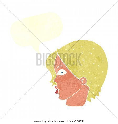 cartoon female face staring with speech bubble