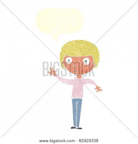 cartoon staring boy with speech bubble