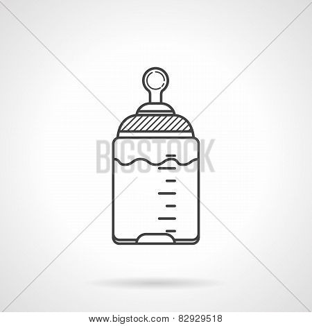 Black line vector icon for baby bottle