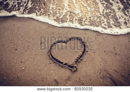 Toned Photo Of Heart Drawn On Sand Sea Beach