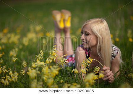 Girl In Larkspur Field