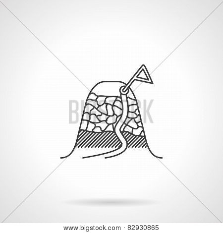 Black vector icon for mountain peak