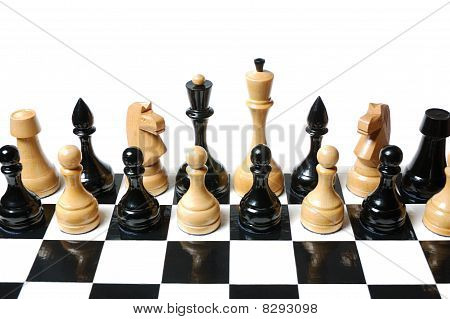 Chess: black & white figures mix