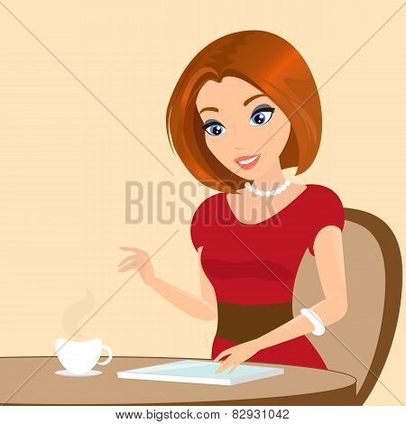 Young pretty woman sitting in the cafe and using a tablet pc. Close-up illustration