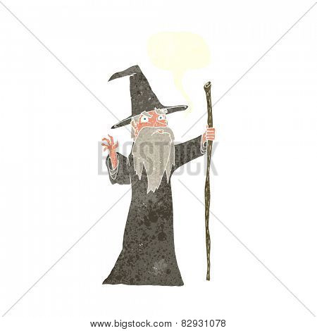 cartoon old wizard with speech bubble