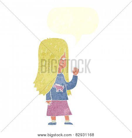 cartoon girl with pony shirt waving with speech bubble
