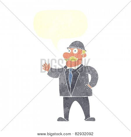 cartoon sensible business man in bowler hat with speech bubble