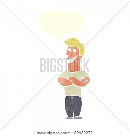 cartoon grinning man with speech bubble
