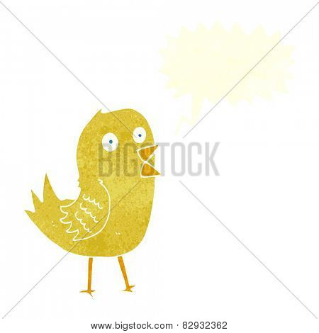cartoon tweeting bird with speech bubble