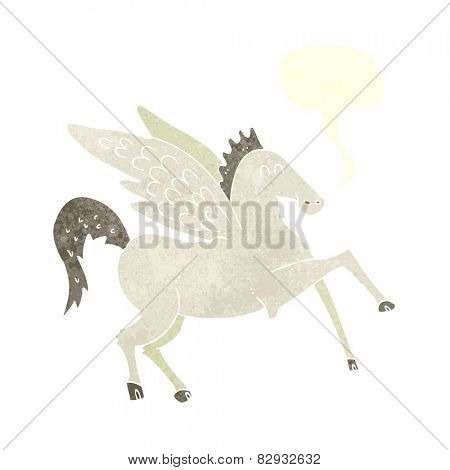 cartoon pegasus with speech bubble