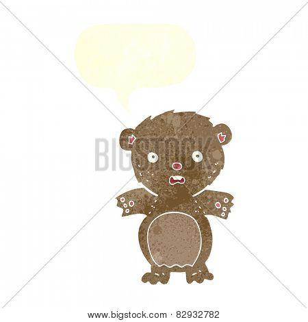 frightened teddy bear cartoon with speech bubble