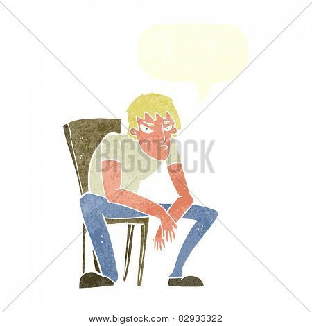 cartoon dejected man with speech bubble