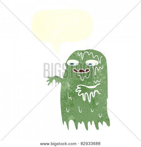 cartoon gross slime ghost with speech bubble