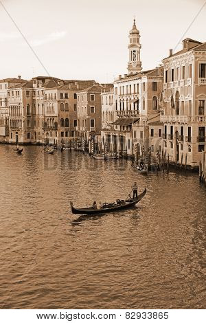Venice, Italy - September 21: Grand Canal Of Venice On September 21, 2013. The Grand Canal From Rial