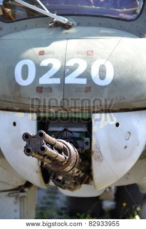 Machine Gun On An Old Military Airplane