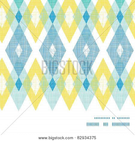 Vector colorful fabric ikat diamond horizontal frame seamless pattern background