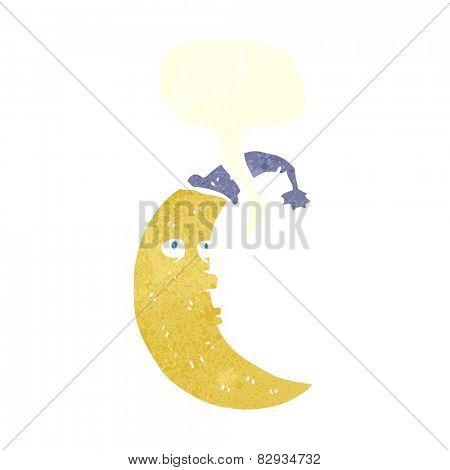 sleepy moon cartoon with speech bubble