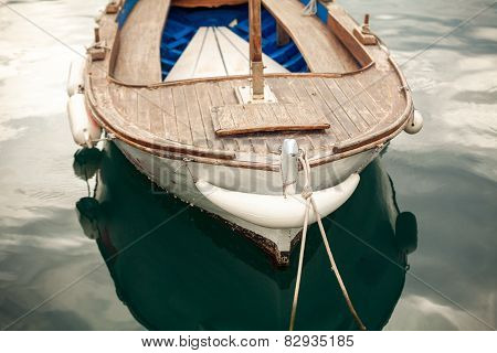 Photo Of Moored Old White Wooden Boat