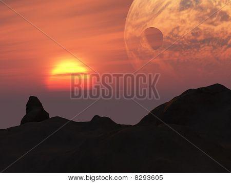Terra Sunset Fantasy Planet