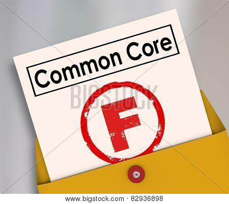 F Grade on report card for new common core educational school lesson guidelines and standards