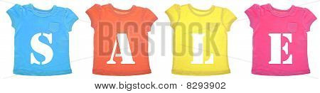 Sale Message On Vibrant Colored Tee Shirts