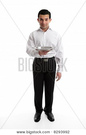 Servant Or Waiter With Empty Silver Tray