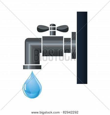 Water tap or faucet with droplet