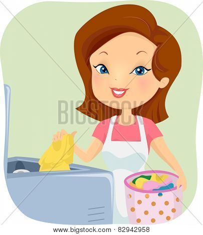 Illustration of a Girl Putting Dirty Clothes in the Washing Machine