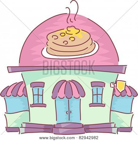 Illustration of the Facade of a Pancake House