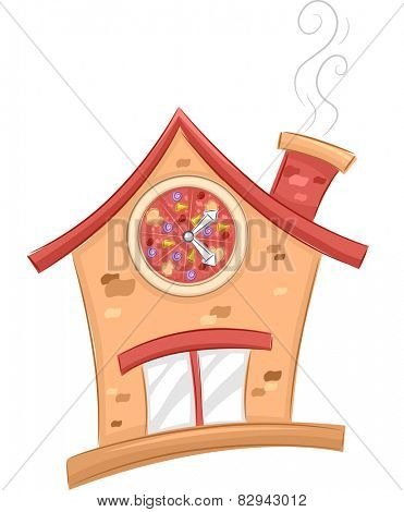 Illustration of the Facade of a Shop That Sells Pizza