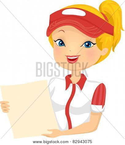 Illustration of a Female Fast Food Restaurant Employee Holding a Menu